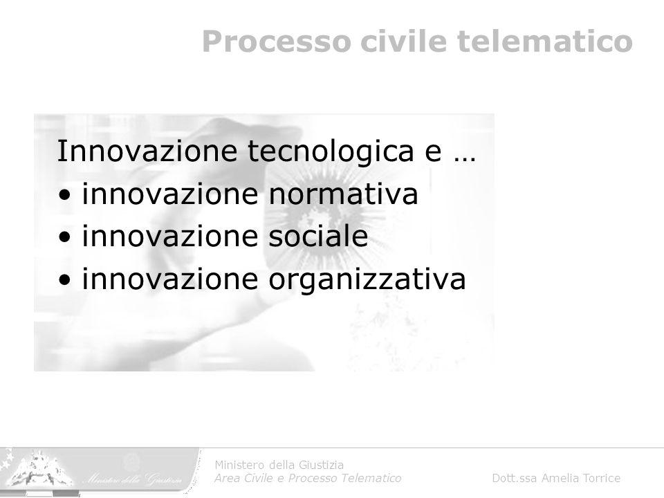 Ministero della Giustizia Area Civile e Processo Telematico Dott.ssa Amelia Torrice Processo civile telematico Innovazione tecnologica e … innovazione normativa innovazione sociale innovazione organizzativa