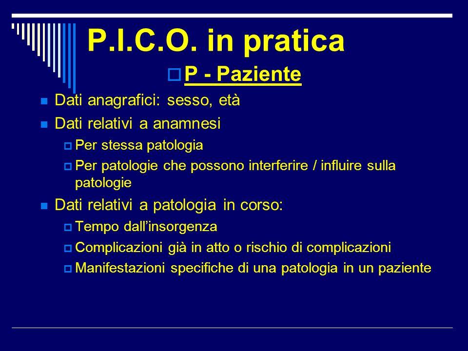 P.I.C.O. in pratica P - Paziente Dati anagrafici: sesso, età Dati relativi a anamnesi Per stessa patologia Per patologie che possono interferire / inf