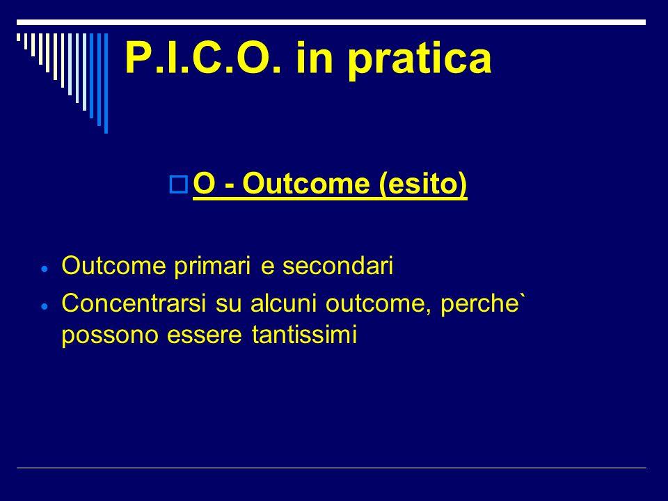 P.I.C.O. in pratica O - Outcome (esito) Outcome primari e secondari Concentrarsi su alcuni outcome, perche` possono essere tantissimi