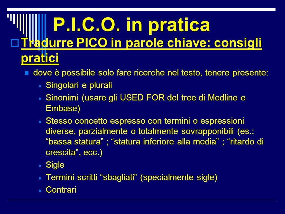 P.I.C.O. in pratica Tradurre PICO in parole chiave: consigli pratici dove è possibile solo fare ricerche nel testo, tenere presente: Singolari e plura