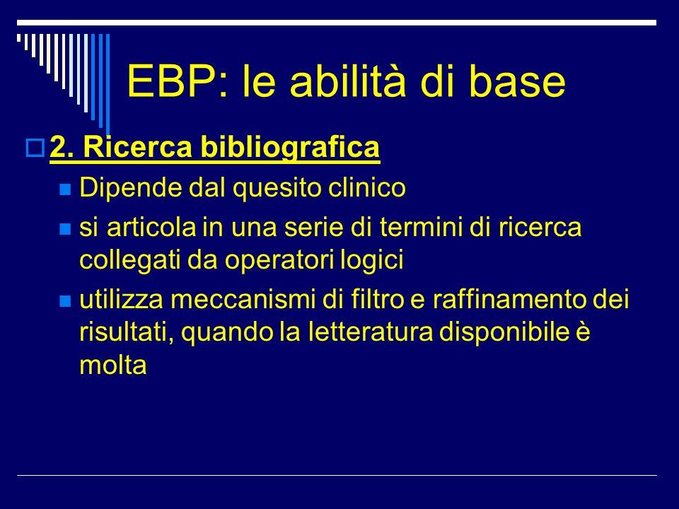 EBP: le abilità di base 2. Ricerca bibliografica Dipende dal quesito clinico si articola in una serie di termini di ricerca collegati da operatori log