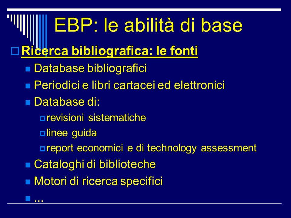 EBP: le abilità di base Ricerca bibliografica: le fonti Database bibliografici Periodici e libri cartacei ed elettronici Database di: revisioni sistem
