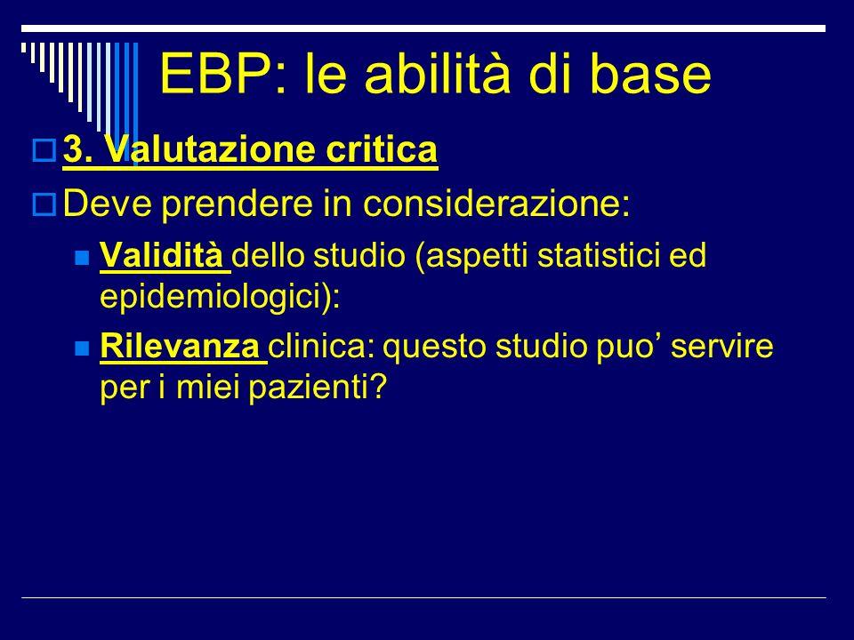 EBP: le abilità di base 3. Valutazione critica Deve prendere in considerazione: Validità dello studio (aspetti statistici ed epidemiologici): Rilevanz