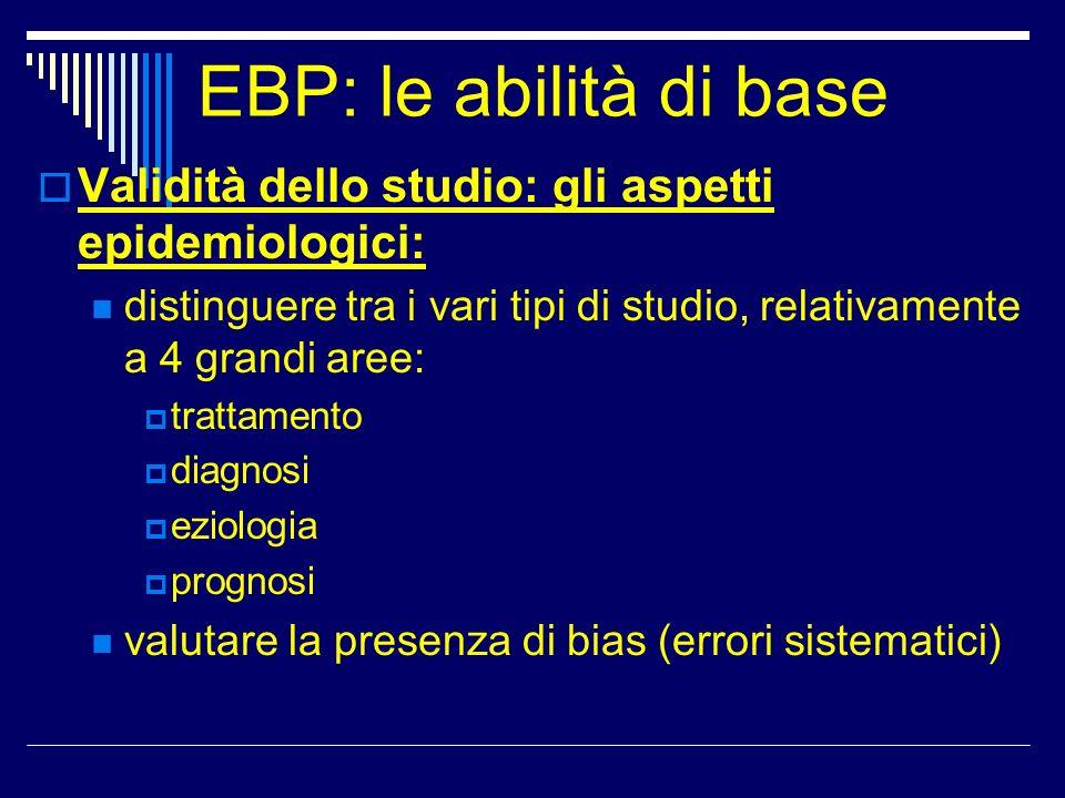 EBP: le abilità di base Validità dello studio: gli aspetti epidemiologici: distinguere tra i vari tipi di studio, relativamente a 4 grandi aree: tratt
