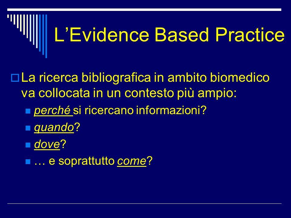 LEvidence Based Practice La ricerca bibliografica in ambito biomedico va collocata in un contesto più ampio: perché si ricercano informazioni? quando?