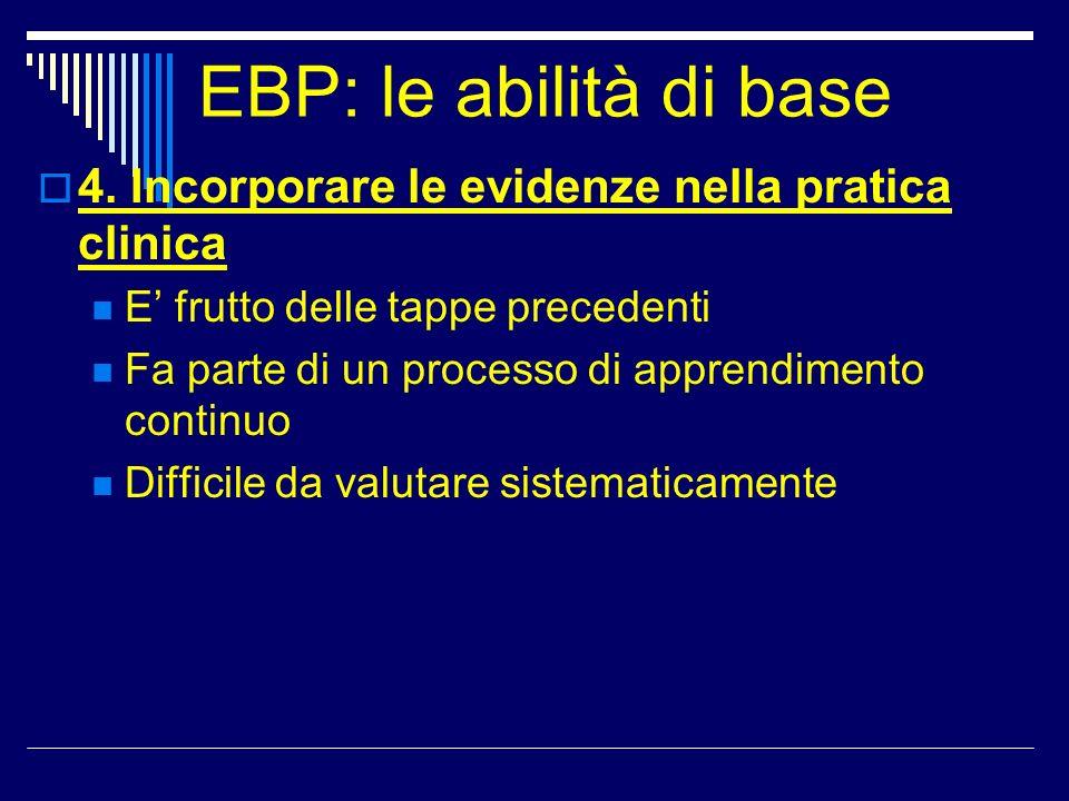 EBP: le abilità di base 4. Incorporare le evidenze nella pratica clinica E frutto delle tappe precedenti Fa parte di un processo di apprendimento cont