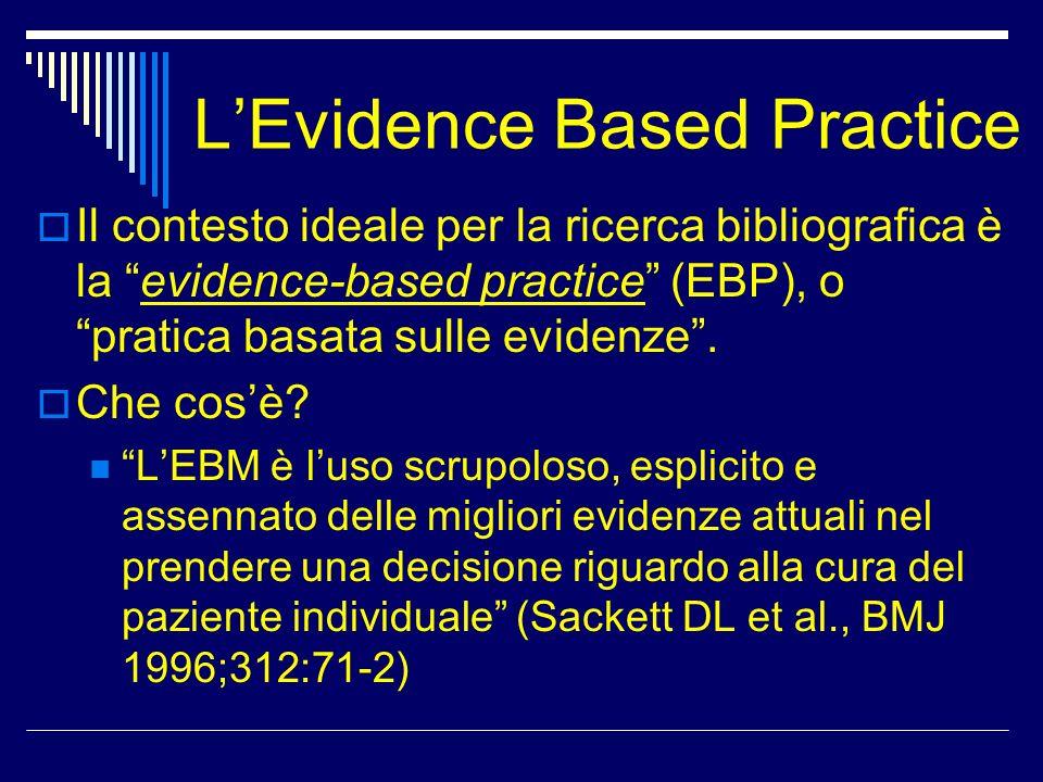 LEvidence Based Practice Le evidenze vanno estratte dal meglio della letteratura scientifica corrente, ed usate in modo consapevole, non applicate meccanicamente La EBP si contrappone alla pratica basata esclusivamente sullopinione e sullesperienza personale