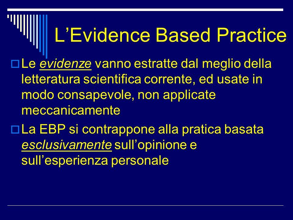 LEvidence Based Practice Le evidenze vanno estratte dal meglio della letteratura scientifica corrente, ed usate in modo consapevole, non applicate mec
