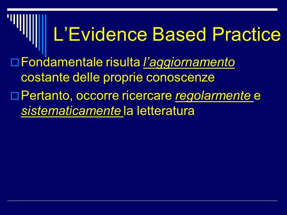 LEvidence Based Practice Fondamentale risulta laggiornamento costante delle proprie conoscenze Pertanto, occorre ricercare regolarmente e sistematicam