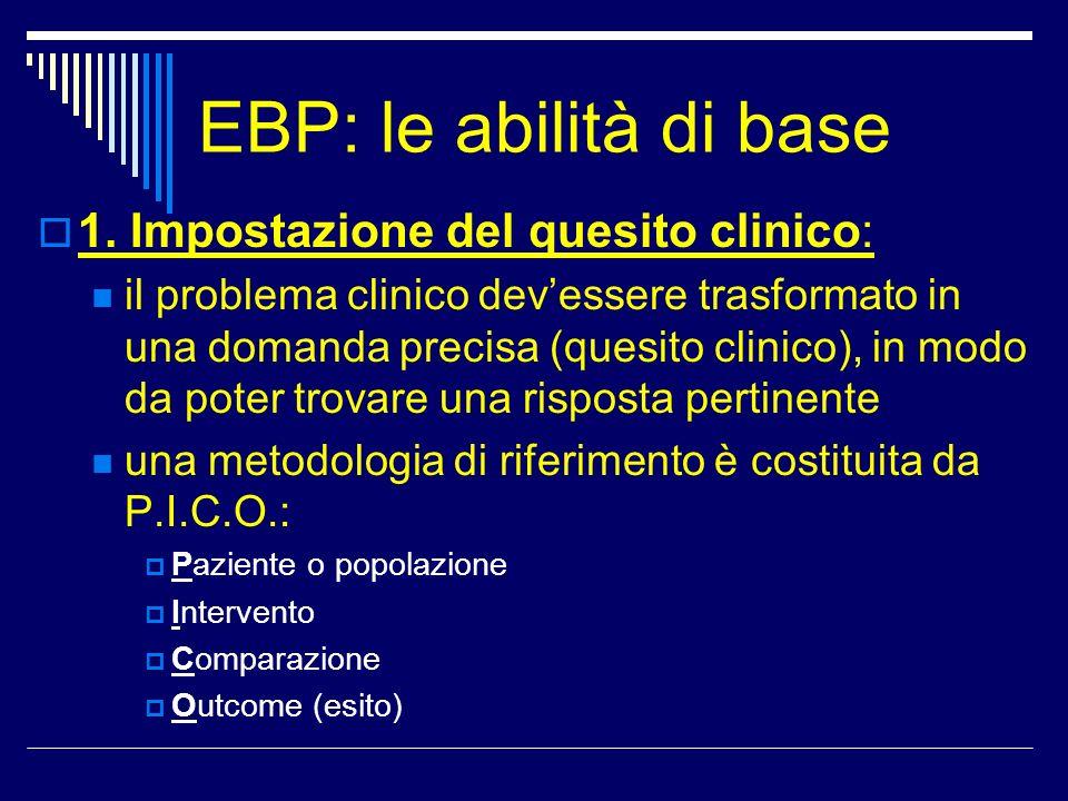 EBP: le abilità di base Disegno dello studio: una gerarchia (per trattamento e diagnosi) Linee guida evidence-based > Revisioni sistematiche > Sperimentazioni cliniche randomizzate controllate (fase 4 > 3 > 2 > 1) > Studi caso - controllo non randomizzati > Studi non controllati