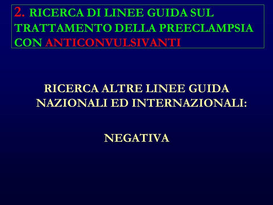 2. RICERCA DI LINEE GUIDA SUL TRATTAMENTO DELLA PREECLAMPSIA CON ANTICONVULSIVANTI RICERCA ALTRE LINEE GUIDA NAZIONALI ED INTERNAZIONALI: NEGATIVA