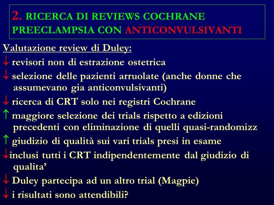 2. RICERCA DI REVIEWS COCHRANE PREECLAMPSIA CON ANTICONVULSIVANTI Valutazione review di Duley: revisori non di estrazione ostetrica selezione delle pa