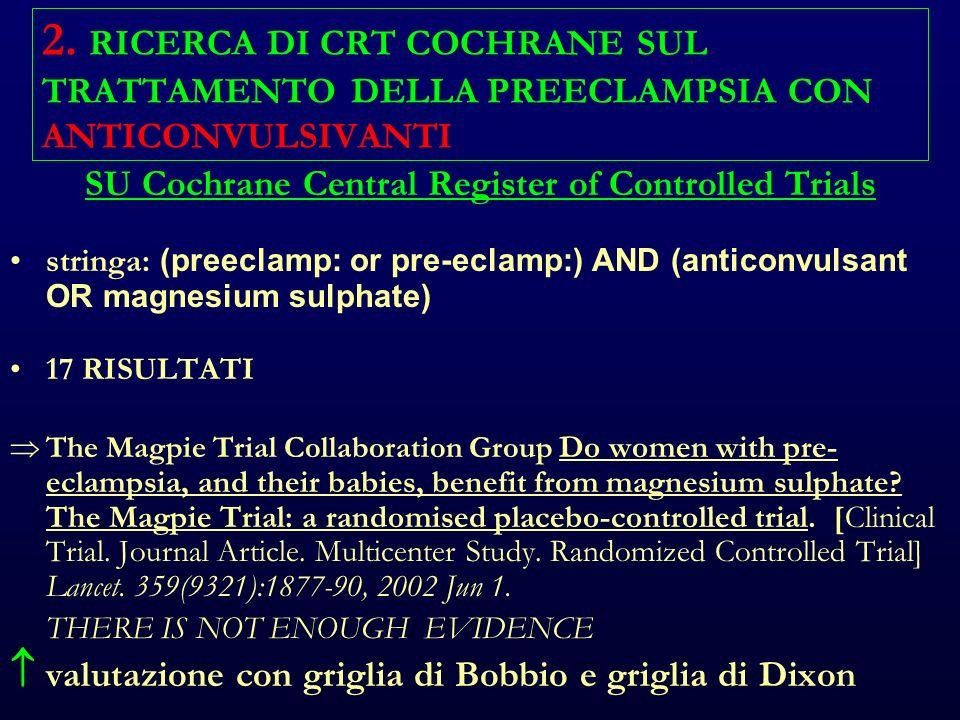 2. RICERCA DI CRT COCHRANE SUL TRATTAMENTO DELLA PREECLAMPSIA CON ANTICONVULSIVANTI SU Cochrane Central Register of Controlled Trials stringa: (preecl