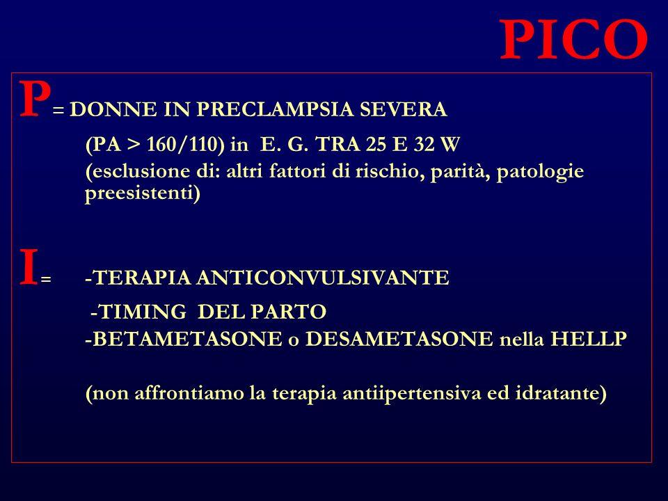 PICO P = DONNE IN PRECLAMPSIA SEVERA (PA > 160/110) in E.