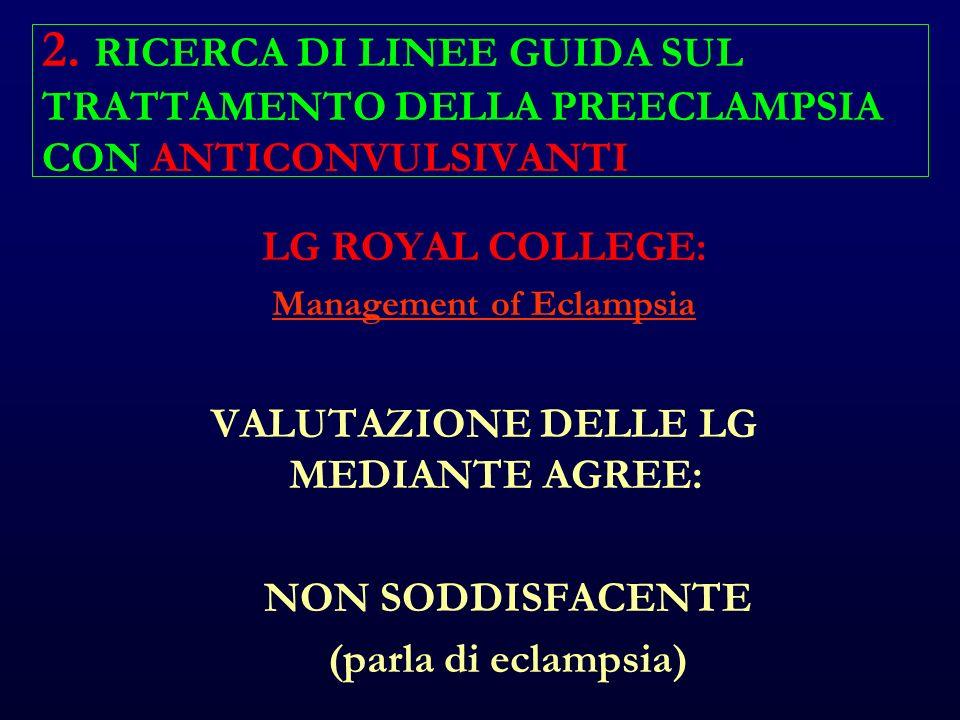 LG ROYAL COLLEGE: Management of Eclampsia VALUTAZIONE DELLE LG MEDIANTE AGREE: NON SODDISFACENTE (parla di eclampsia)