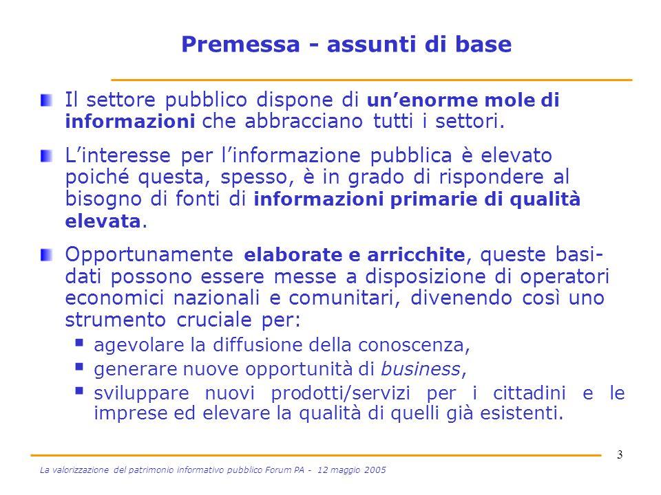 3 La valorizzazione del patrimonio informativo pubblico Forum PA - 12 maggio 2005 Premessa - assunti di base Il settore pubblico dispone di unenorme mole di informazioni che abbracciano tutti i settori.
