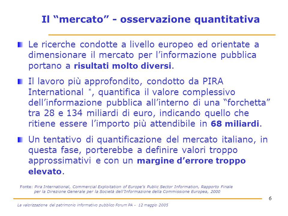 6 La valorizzazione del patrimonio informativo pubblico Forum PA - 12 maggio 2005 Il mercato - osservazione quantitativa Le ricerche condotte a livello europeo ed orientate a dimensionare il mercato per linformazione pubblica portano a risultati molto diversi.