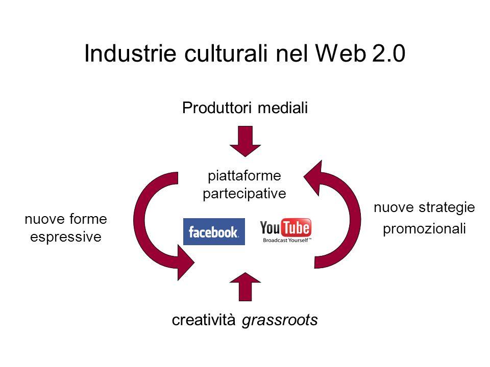 Industrie culturali nel Web 2.0 piattaforme partecipative Produttori mediali creatività grassroots nuove forme espressive nuove strategie promozionali