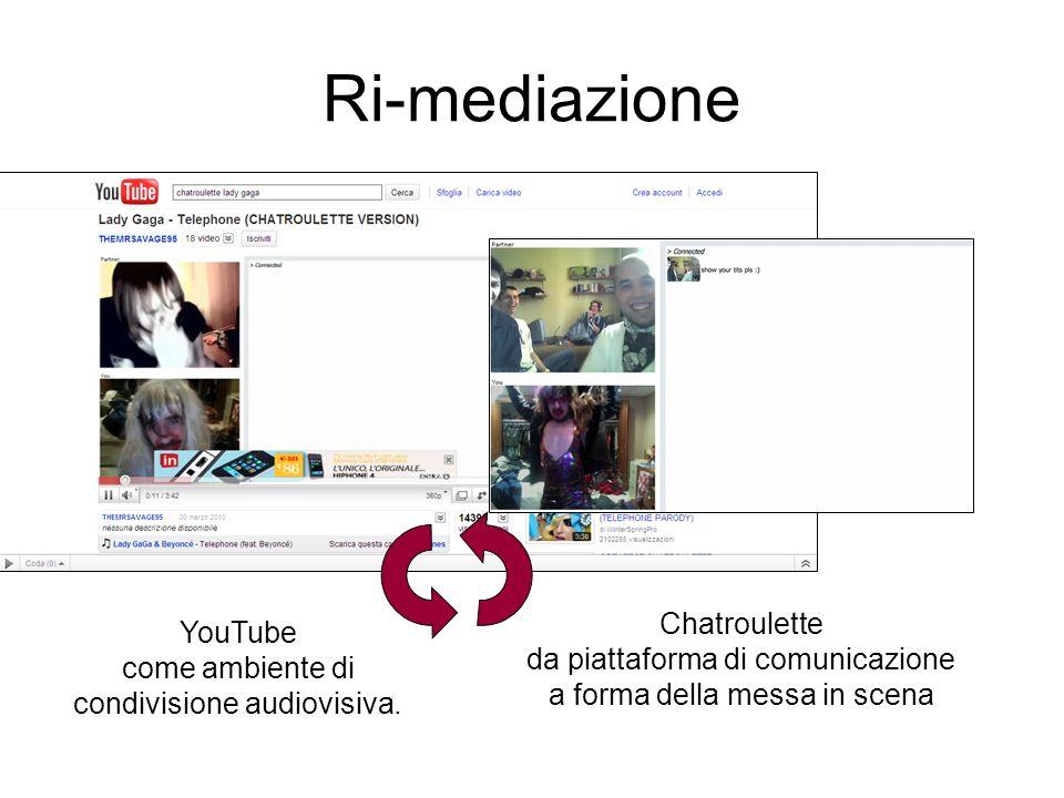 Ri-mediazione Chatroulette da piattaforma di comunicazione a forma della messa in scena YouTube come ambiente di condivisione audiovisiva.