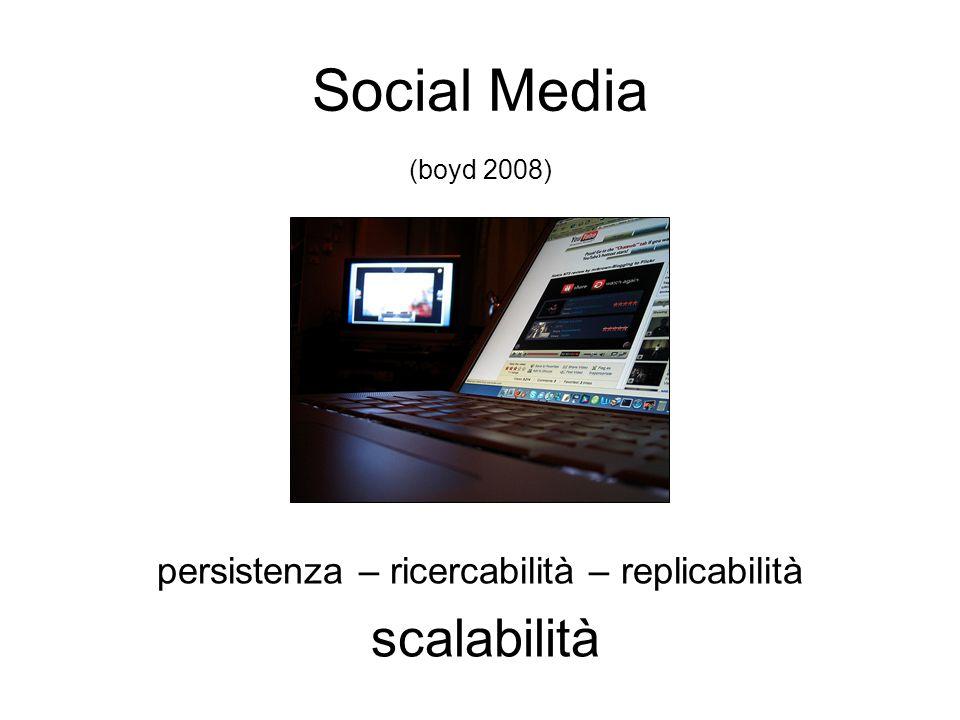 Social Media persistenza – ricercabilità – replicabilità scalabilità (boyd 2008)