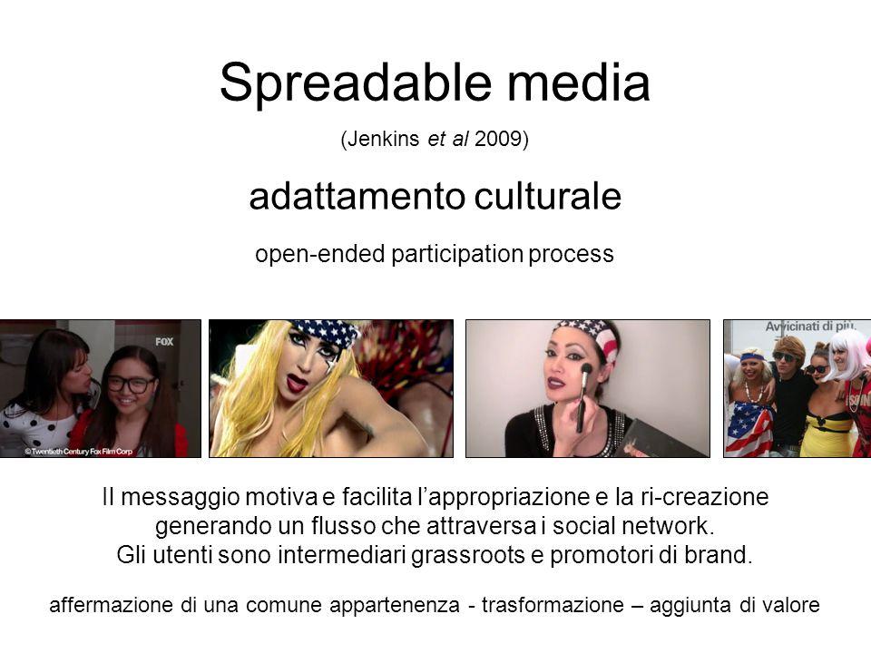 Spreadable media adattamento culturale open-ended participation process (Jenkins et al 2009) Il messaggio motiva e facilita lappropriazione e la ri-cr