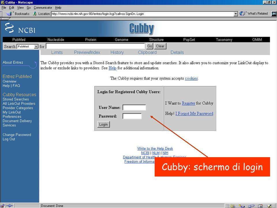 Cubby: schermo di login