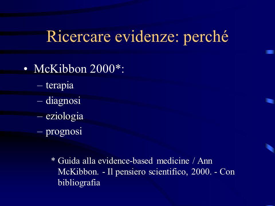 Ricercare evidenze: perché McKibbon 2000*: –terapia –diagnosi –eziologia –prognosi * Guida alla evidence-based medicine / Ann McKibbon.