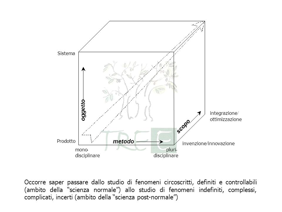 integrazione / ottimizzazione Sistema Prodotto mono - disciplinare pluri - disciplinare metodo oggetto scopo invenzione / innovazione Occorre saper pa