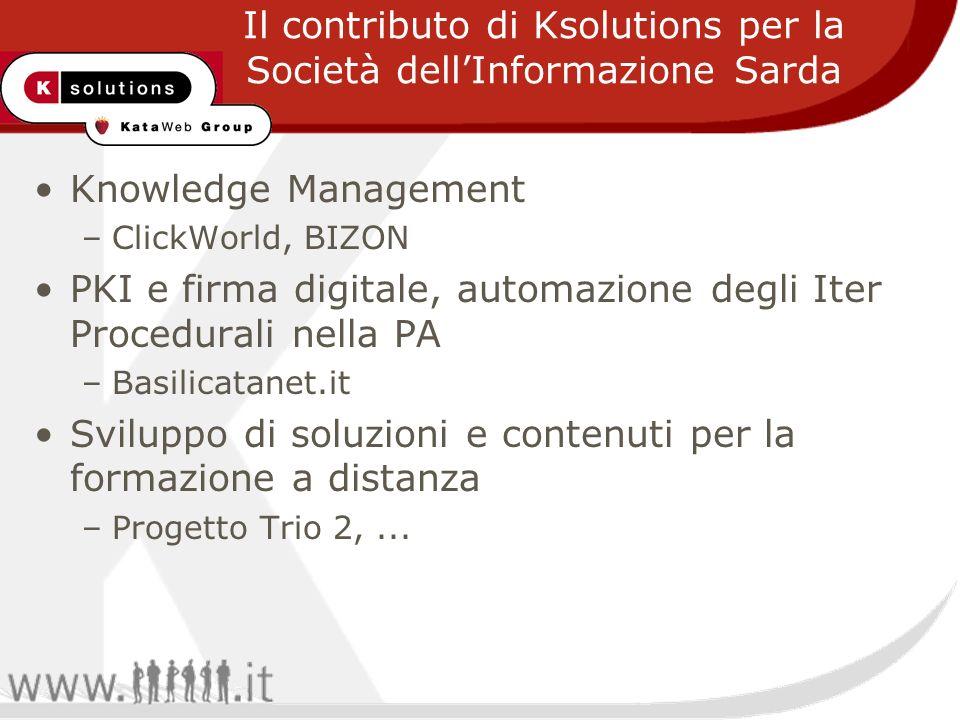 Knowledge Management –ClickWorld, BIZON PKI e firma digitale, automazione degli Iter Procedurali nella PA –Basilicatanet.it Sviluppo di soluzioni e contenuti per la formazione a distanza –Progetto Trio 2,...