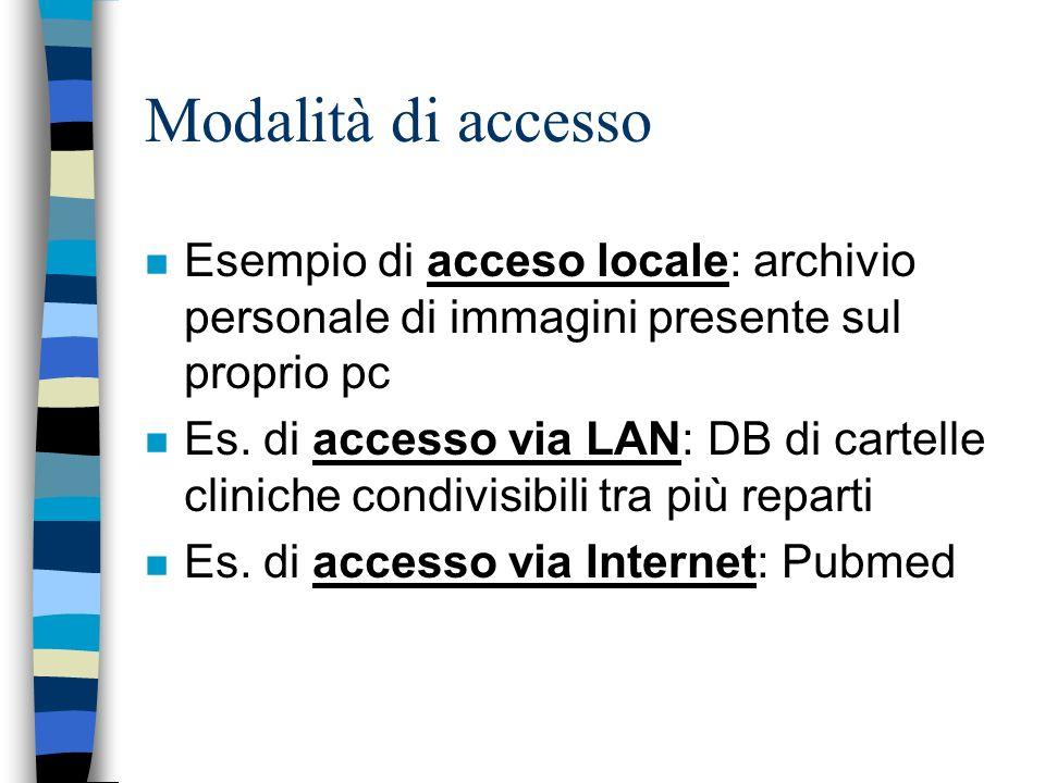 Modalità di accesso n Esempio di acceso locale: archivio personale di immagini presente sul proprio pc n Es.