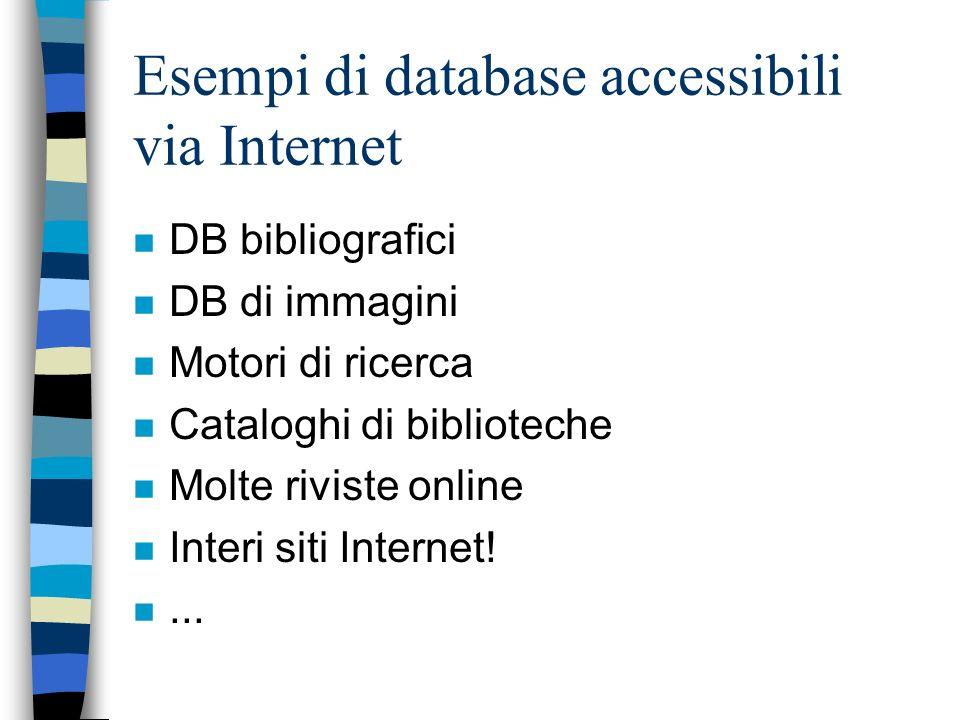 Esempi di database accessibili via Internet n DB bibliografici n DB di immagini n Motori di ricerca n Cataloghi di biblioteche n Molte riviste online n Interi siti Internet.
