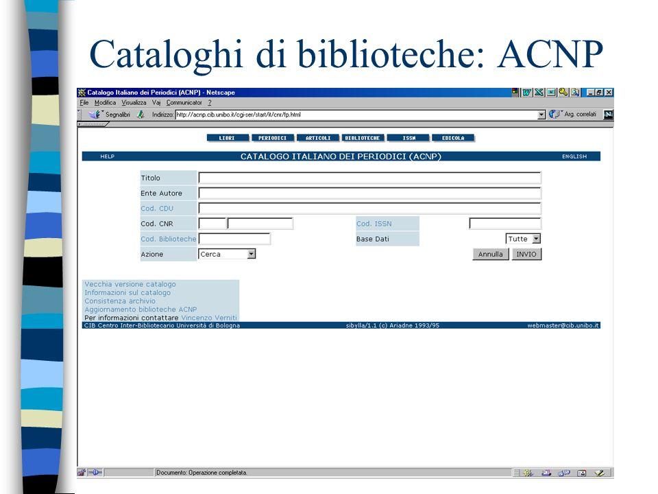 Cataloghi di biblioteche: ACNP