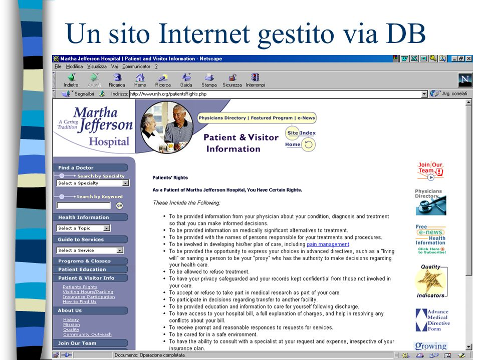 Un sito Internet gestito via DB