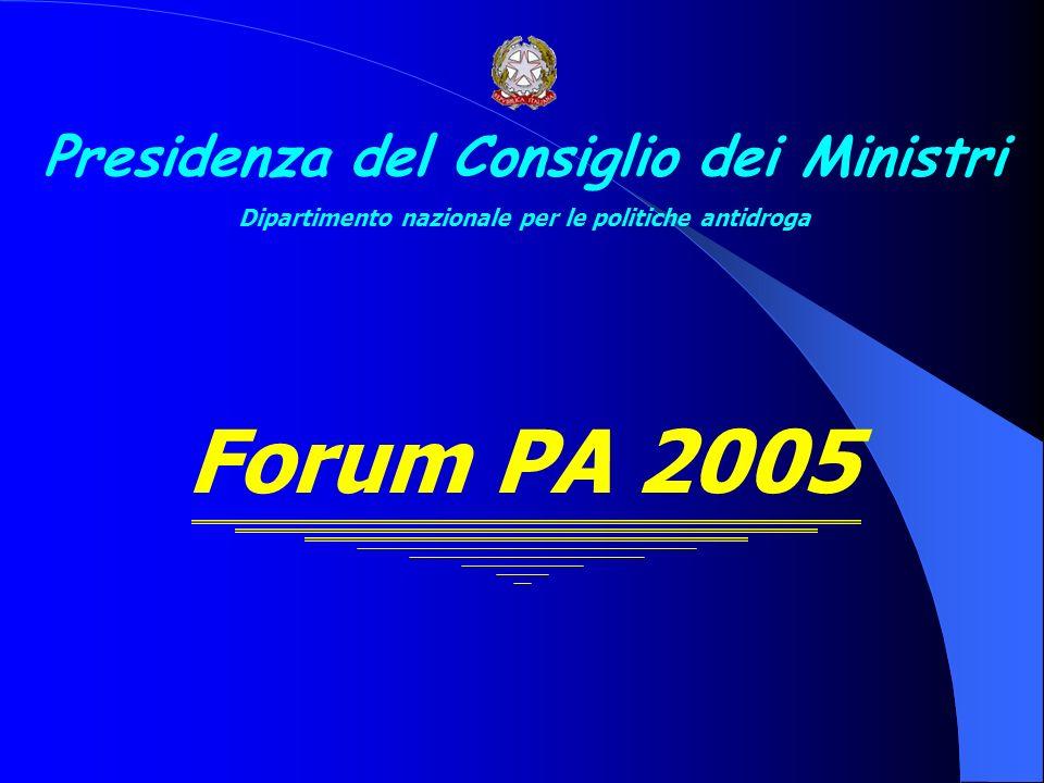 Presidenza del Consiglio dei Ministri Dipartimento nazionale per le politiche antidroga Forum PA 2005