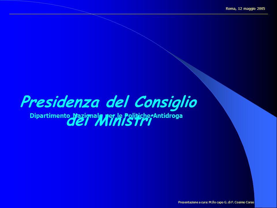 Presidenza del Consiglio dei Ministri Dipartimento Nazionale per le Politiche Antidroga Roma, 12 maggio 2005 Presentazione a cura: M.llo capo G.