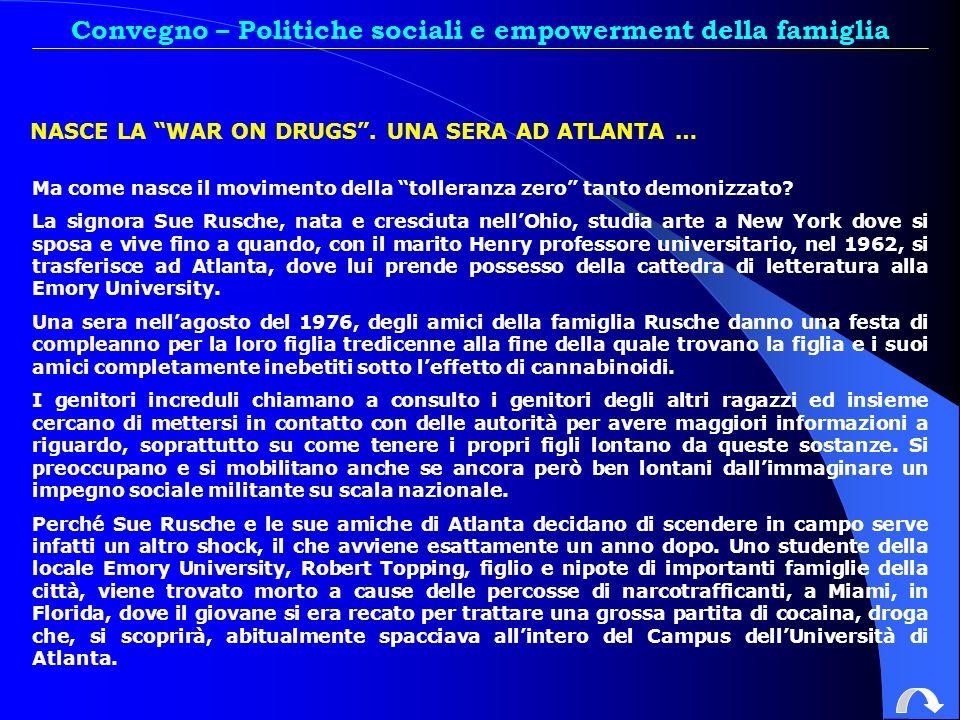 Convegno – Politiche sociali e empowerment della famiglia NASCE LA WAR ON DRUGS.