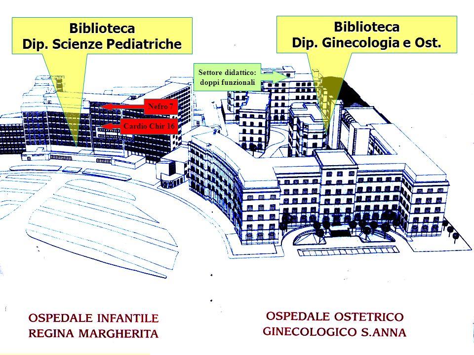 Biblioteca Dip. Scienze Pediatriche Biblioteca Dip. Ginecologia e Ost. Nefro 7 Cardio Chir 16 Settore didattico: doppi funzionali