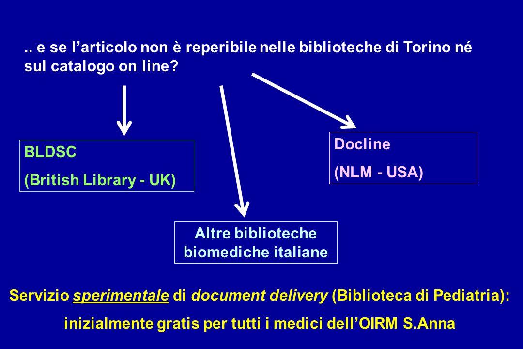 .. e se larticolo non è reperibile nelle biblioteche di Torino né sul catalogo on line? BLDSC (British Library - UK) Docline (NLM - USA) Altre bibliot