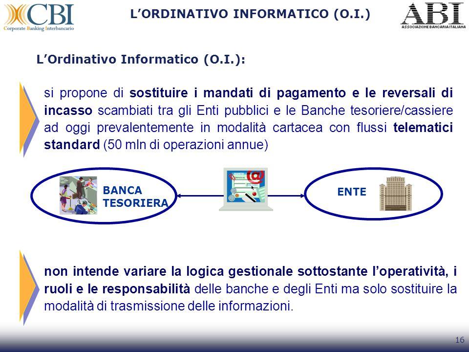 16 LORDINATIVO INFORMATICO (O.I.) si propone di sostituire i mandati di pagamento e le reversali di incasso scambiati tra gli Enti pubblici e le Banch