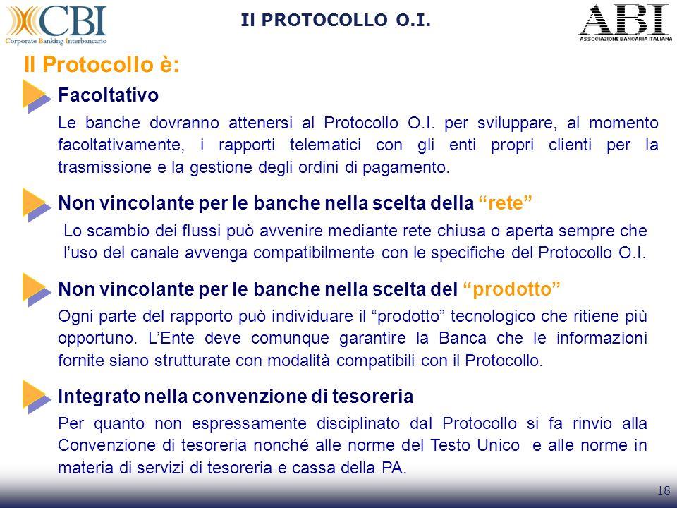 18 Il PROTOCOLLO O.I. Il Protocollo è: Facoltativo Le banche dovranno attenersi al Protocollo O.I. per sviluppare, al momento facoltativamente, i rapp