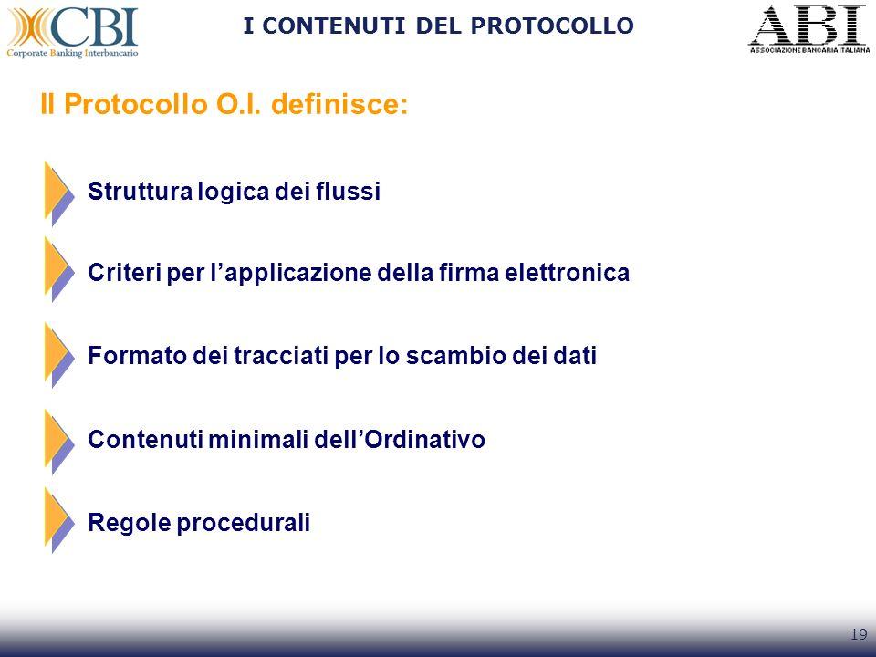 19 I CONTENUTI DEL PROTOCOLLO Il Protocollo O.I. definisce: Formato dei tracciati per lo scambio dei dati Struttura logica dei flussi Criteri per lapp