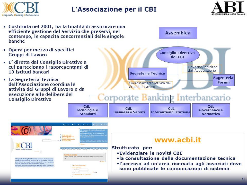 6 Strutturato per: Evidenziare le novità CBI la consultazione della documentazione tecnica laccesso ad unarea riservata agli associati dove sono pubbl