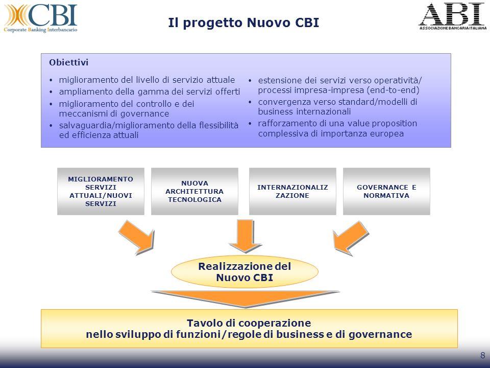 8 Il progetto Nuovo CBI Obiettivi miglioramento del livello di servizio attuale ampliamento della gamma dei servizi offerti miglioramento del controll