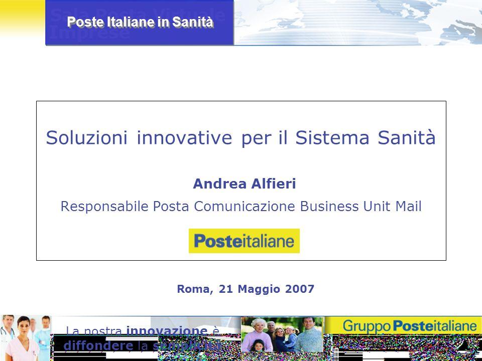 Poste Italiane in Sanità La nostra innovazione è diffondere la semplicità Soluzioni innovative per il Sistema Sanità Andrea Alfieri Responsabile Posta