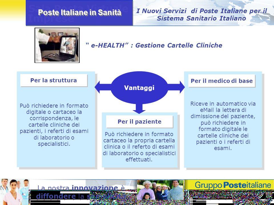 Poste Italiane in Sanità La nostra innovazione è diffondere la semplicità I Nuovi Servizi di Poste Italiane per il Sistema Sanitario Italiano Per la s
