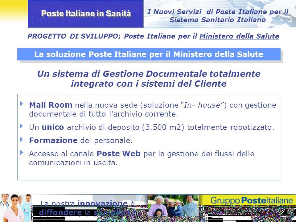 Poste Italiane in Sanità La nostra innovazione è diffondere la semplicità I Nuovi Servizi di Poste Italiane per il Sistema Sanitario Italiano Mail Roo