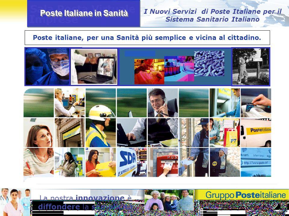 Poste Italiane in Sanità La nostra innovazione è diffondere la semplicità Poste italiane, per una Sanità più semplice e vicina al cittadino. I Nuovi S