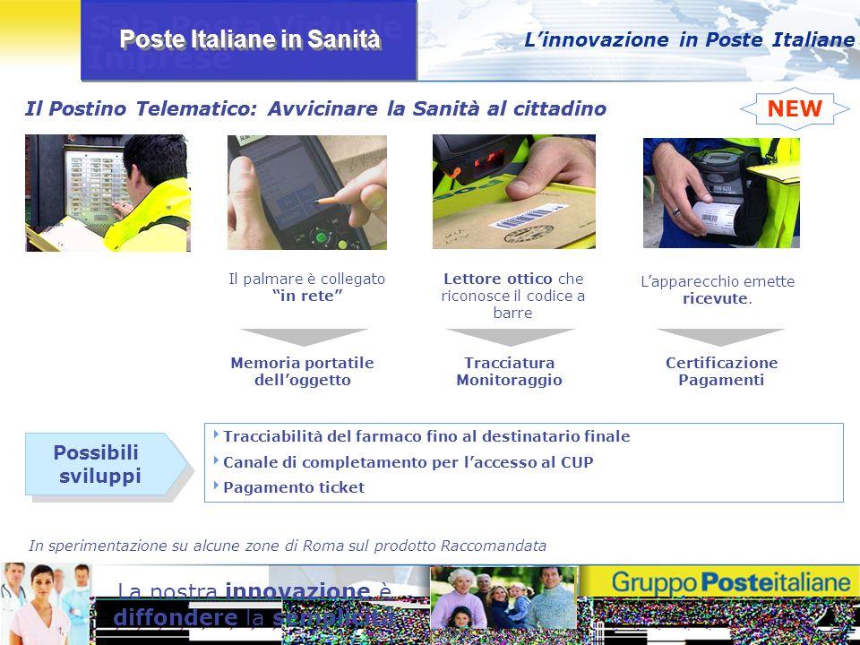 Poste Italiane in Sanità La nostra innovazione è diffondere la semplicità Il Postino Telematico: Avvicinare la Sanità al cittadino Linnovazione in Pos