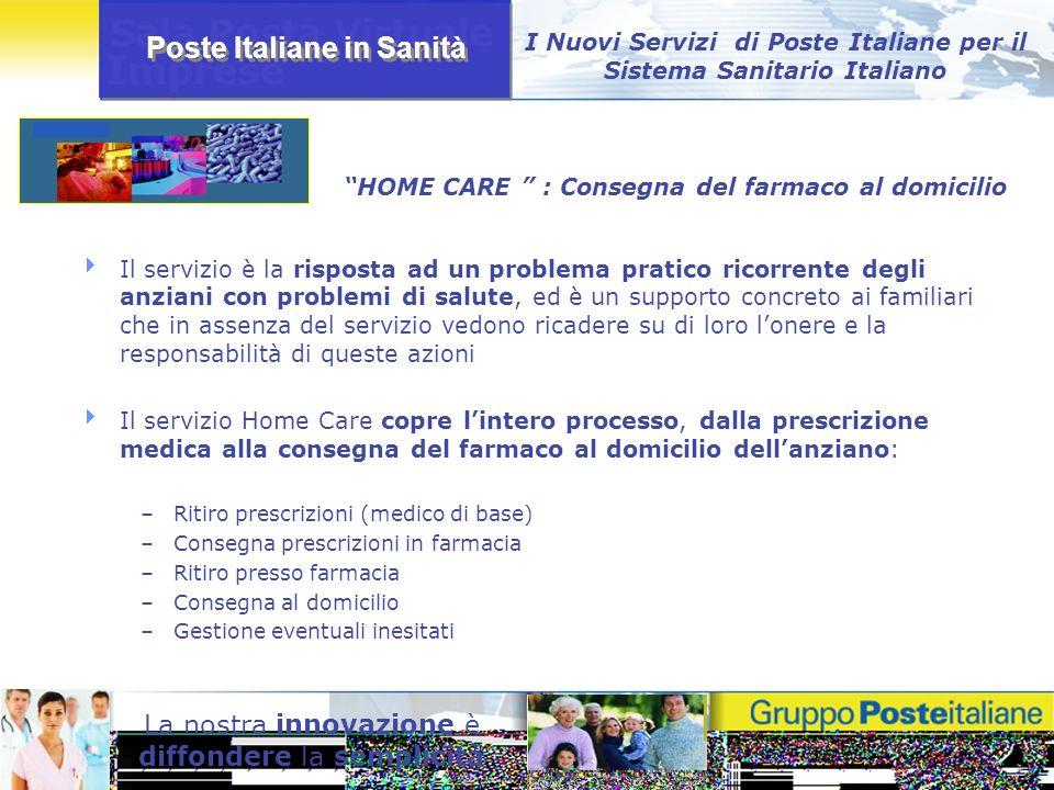 Poste Italiane in Sanità La nostra innovazione è diffondere la semplicità Il servizio è la risposta ad un problema pratico ricorrente degli anziani co