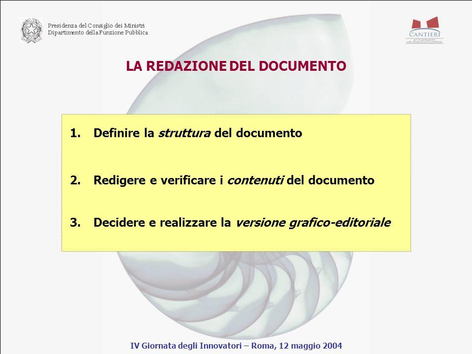 LA REDAZIONE DEL DOCUMENTO IV Giornata degli Innovatori – Roma, 12 maggio 2004 1.Definire la struttura del documento 2.Redigere e verificare i contenuti del documento 3.Decidere e realizzare la versione grafico-editoriale
